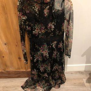 Sheer flower boho dress
